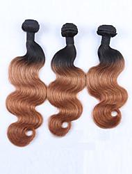 3pcs 300g 12-26 malgasia não processada cabelo virgem cabelo humano cabelo humano dois tons 1b / 30 # ondulação ombre cabelo humano tece