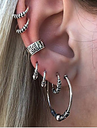 cheap -Women's Clip Earrings - Vintage Silver Circle Earrings For Daily