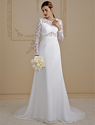 cheap -A-Line Illusion Neck Court Train Chiffon / Lace Made-To-Measure Wedding Dresses with Lace / Lace-up by LAN TING BRIDE® / Illusion Sleeve