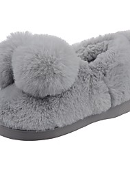 Boys' Shoes Velvet Winter Fur Lining Fluff Lining Comfort First Walkers Slippers & Flip-Flops Pom-pom For Casual Light Brown Light Grey