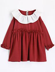 abordables -Camiseta Chica Un Color Algodón Mangas largas Otoño Rojo