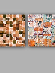 Hand-Painted Abstract Square,Rustic/Lodge Contemporary Business Two Panels Canvas Oil Painting For Home Decoration