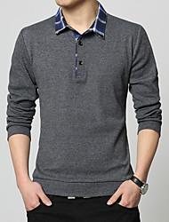 cheap -Men's Work Casual Cotton Polo - Solid Colored Color Block Shirt Collar