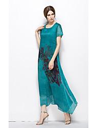 Women's Party Vintage Swing Dress,Floral Round Neck Maxi Short Sleeves Silk Summer Mid Rise Inelastic Medium