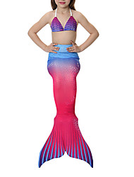 Princess Mermaid Tail Fairytale Swimwear Bikini Girls Halloween Carnival Children's Day Festival/Holiday Halloween Costumes Blushing Pink