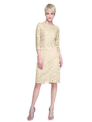cheap -Sheath / Column Jewel Neck Knee Length Lace Mother of the Bride Dress with Lace by LAN TING BRIDE®