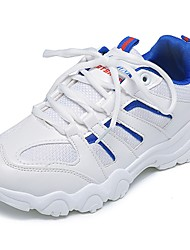 Women's Shoes PU Fall Comfort Athletic Shoes Walking Shoes Flat Heel Round Toe Lace-up For Dress Blue Red White