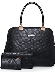 baratos -Mulheres Bolsas PU Conjuntos de saco Estampa Geométrica Preto / Vermelho / Rosa