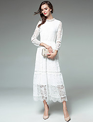 SUOQI Women's Going out Daily Simple A Line Swing DressSolid Stand Midi Long Sleeves Nylon Fall Mid Rise Micro-elastic Medium