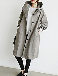 cheap -Women's Daily Going out Simple Vintage Casual Street chic Winter Fall Trench Coat,Solid Hooded Long Sleeve Long Cotton Polyester