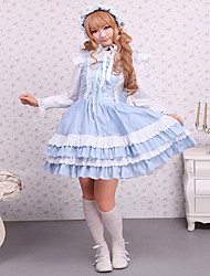 cheap -Sweet Lolita Dress Classic Lolita Dress Princess Satin One Piece Dress Cosplay Blue Sleeveless