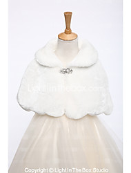 cheap -Faux Fur Wedding Party / Evening Kids' Wraps With Rhinestone Capelets