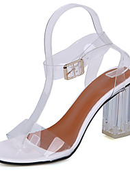 Women's Shoes Rubber Summer Comfort Sandals Chunky Heel Buckle For Outdoor Blushing Pink Black White