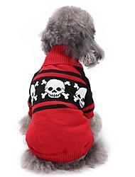 Недорогие -Собака Свитера Одежда для собак Черепа Красный Чинлон Костюм Назначение Весна & осень Зима Хэллоуин