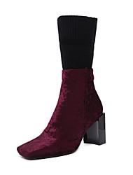 preiswerte -Damen Schuhe Kunstleder Winter Herbst Komfort Neuheit Pumps Stiefel Blockabsatz Mittelhohe Stiefel Reißverschluss für Hochzeit Normal