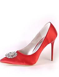 preiswerte -Damen Schuhe Seide Frühling Herbst Pumps Hochzeit Schuhe Stöckelabsatz Spitze Zehe Geschlossene Spitze Strass Für Hochzeit Party &