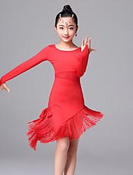 Danse latine Robes Enfant Spectacle Soie Glacée 1 Pièce Manche longue Robe