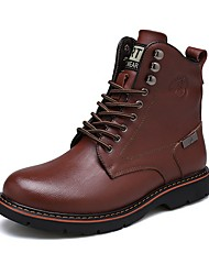 cheap -Men's Shoes Leather Fall Winter Combat Boots Boots Booties/Ankle Boots Lace-up For Casual Outdoor Brown Black