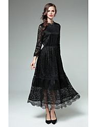 Women's Party Going out Sexy Sheath Lace Dress,Solid Round Neck Maxi Long Sleeves Rayon Fall Winter High Rise Micro-elastic Medium