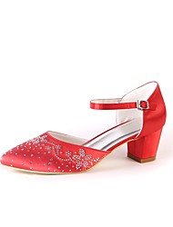 cheap -Women's Shoes Silk Spring Fall Comfort Wedding Shoes Chunky Heel Pointed Toe Rhinestone Sparkling Glitter For Wedding Party & Evening Red