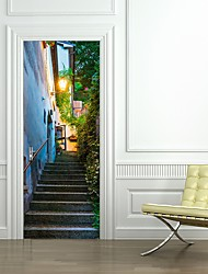 cheap -77*200cm 3D San Marino Street View Door Mural Sticker 3D Decorative Removable Street Light Stairs Wall Sticker Mural Decal Home Decor for Living Room