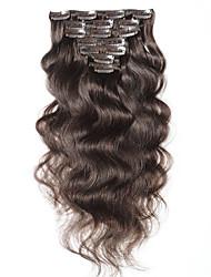 Недорогие -тело волна non-remy 100% человеческий волос # 2 цвет натуральный черный зажим в наращивании волос 16 18 20 22 дюйма 100 г клипы в