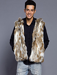 Men's Plus Size Casual/Daily Simple Punk & Gothic Winter Fur Coat,Camouflage Hooded Sleeveless Regular Faux Fur