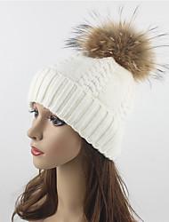 Donna Autunno Inverno Lana Acrilico Pelliccia di procione Cappelli Maglia A falda larga Cappello di lana,Solidi Tinta unita