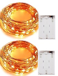 cheap -2PCS 5M 50Led 3AAA 4.5V Battery Powered Waterproof Decoration LED Copper Wire  Lights String  for Festival Wedding Party