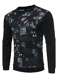 billige -Herre Langærmet Rund hals Sweatshirt Trykt mønster