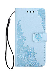 cheap -For iPhone X iPhone 8 Case Cover Wallet Card Holder with Stand Flip Embossed Pattern Magnetic Full Body Case Lace Printing Flower Hard PU