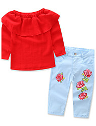 Girls' Solid Floral Print Clothing Set,Cotton Polyester Spring Fall Long Sleeve Floral Dresswear Red
