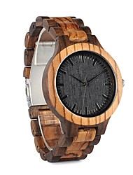 cheap -Men's Women's Fashion Watch Wrist watch Wood Watch Japanese Quartz Chronograph Water Resistant / Water Proof Large Dial Wood Band Charm