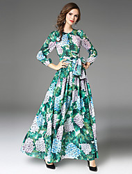 cheap -Women's Puff Sleeve A Line Dress - Floral, Bow Pleated Maxi