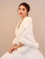Rabbit Fur Faux Fur Wedding Party / Evening Women's Wrap With Pattern / Print Shawls