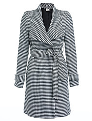 cheap -Women's Vintage Cotton Coat - Striped Houndstooth V Neck