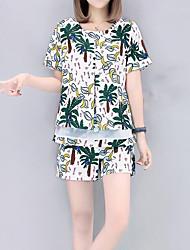 Manches Ajustées Pantalon Costumes Femme,arbres/Feuilles Décontracté / Quotidien simple Eté Manches Courtes Col Arrondi