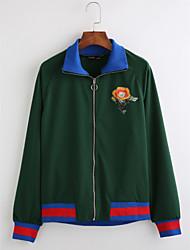 preiswerte -Damen Geometrisch Einfach Lässig/Alltäglich Mantel,Hemdkragen Herbst Langärmelige Standard Baumwolle Bestickt