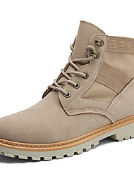 cheap -Men's Shoes PU Fall Winter Combat Boots Boots Booties/Ankle Boots Split Joint Lace-up For Casual Party & Evening Beige