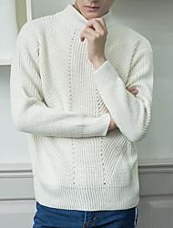 economico -Per uomo Quotidiano Tinta unita Pullover, A collo alto Manica lunga Inverno Primavera
