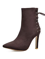 cheap -Women's Shoes Leatherette Spring Fall Winter Basic Pump Comfort Novelty Boots Stiletto Heel Lace-up For Wedding Casual Office & Career