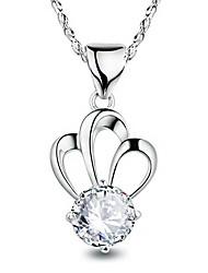 Mulheres Colares com Pendentes Zircônia cúbica Forma Redonda Formato Coroa Prata de Lei Zircão Moda Jóias de Luxo Jóias Para Casamento
