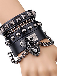 cheap -Men's Rivet Chain Bracelet / Leather Bracelet - Leather Heart, Button Rock, Fashion Bracelet Black / Brown For Stage / Club