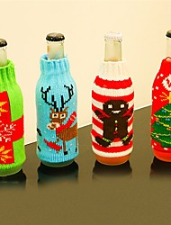 cheap -4PCChristmas Type Beer Bottle Cover Christmas Gift Bag Crafts Wine Bottle Cover Dinner Party Table Decor Festive New Year Supplies