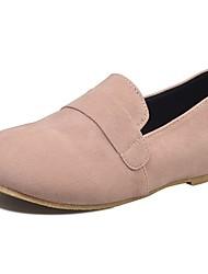 Femme Chaussures Polyuréthane Automne Confort Mocassins et Chaussons+D6148 Talon Plat Bout rond Pour Décontracté Noir Gris clair Rose
