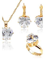 Femme Mode Simple Style Zircon Plaqué or Boucles d'oreille Collier Pour Mariage Quotidien Cadeaux de mariage