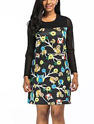 Tee Shirt Robe Femme Sortie Grandes Tailles Vintage Chic de Rue,Imprimé Col Arrondi Mini Demi Manches Polyester Printemps Automne Taille