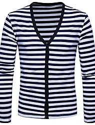 Standard Cardigan Da uomo-Casual Semplice A strisce A V Manica lunga Poliestere Autunno Inverno Medio spessore Media elasticità