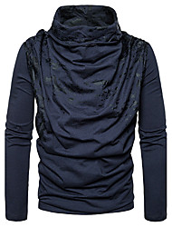 Men's Going out Casual/Daily Simple Regular Pullover,Print Cowl Neck Long Sleeves Cotton Spring Fall Medium Stretchy