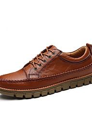 abordables -Homme Chaussures Cuir Automne Confort Oxfords Lacet pour Décontracté De plein air Noir Marron Brun Foncé
